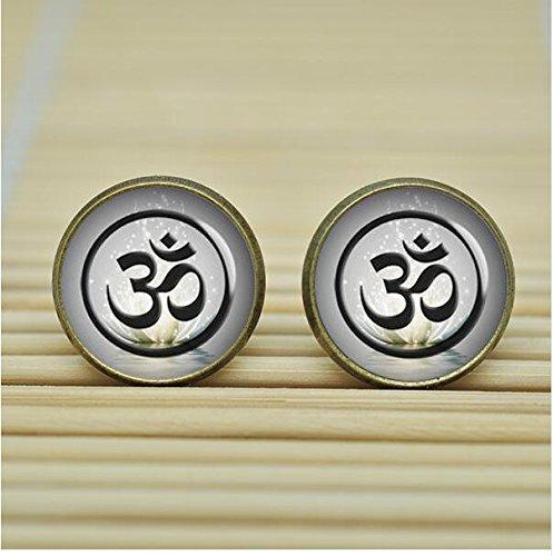 Yoga Om sign Pendant Lotus yin yang Earrings jewelry glass Cabochon Earrings
