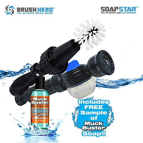 Wash Brush Set (Brush Hero- Wheel Brush, Premium Water-Powered Turbine for Rims, Combined with SOAP STAR by Brush Hero and 2 oz. Muck Buster)