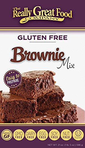 Really Great Food Company - Gluten Free Brownie Mix - 21 ounce box - No Nuts, Soy, Dairy, Eggs - Vegan, Kosher, Non-GMO and Plant Based