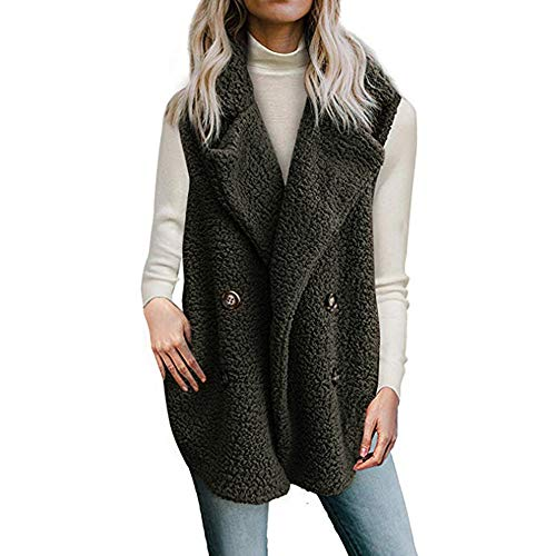 TnaIolr Women Warm Coat Women's Calsual Jacket Winter Sleeveless Vest Ladies Coat Overcoat with ()
