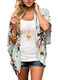Women Cardigan 3/4 Sleeve Floral Kimono Cover up Floral Chiffon Cardigan Green L