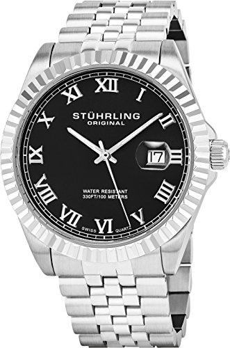 Stuhrling Original Men's 599G.02 Symphony Regent Coronet Quartz Date Black Dial Watch
