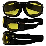 Birdz Eyewear Eagle Motorcycle Goggles (Black Frame/Yellow Lens)