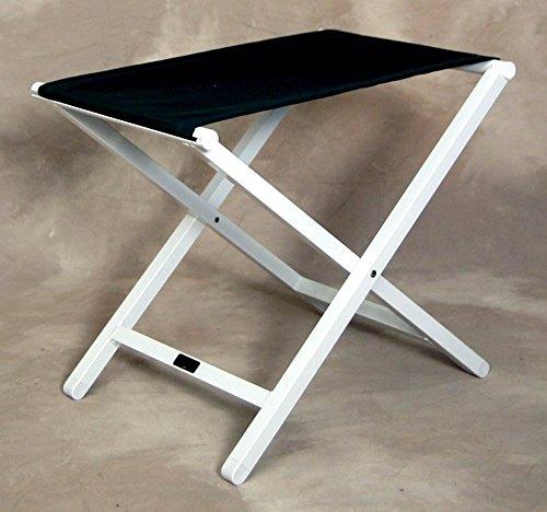 (Sutton Bridge Large Monterey Folding Footstool in Jet Black w White Frame)