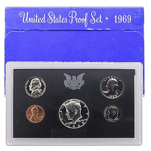 1969 S US Mint 5-piece Proof Set with Silver Kennedy Half OGP Proof