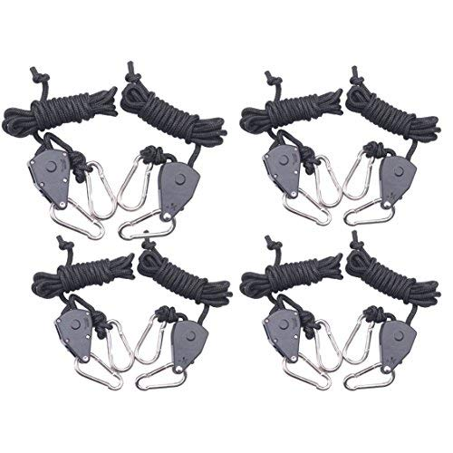 (4-Pairs Zazzy 1/8 Inch Heavy Duty Adjustable Grow Light Rope Clip Hanger Rope Hanger)