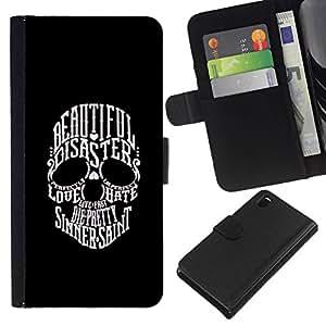 All Phone Most Case / Oferta Especial Cáscara Funda de cuero Monedero Cubierta de proteccion Caso / Wallet Case for Sony Xperia Z3 D6603 // Beautiful Sinner Saint Skull Black White