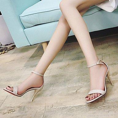 LvYuan Mujer Sandalias Confort PU Verano Confort Tacón Stiletto Dorado Negro Plata 12 cms y Más Black