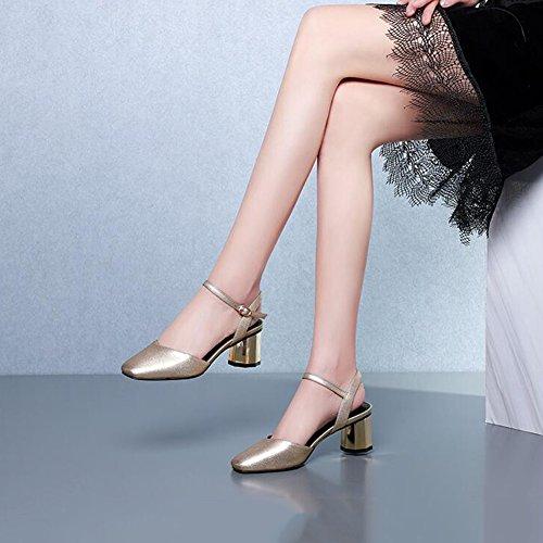 5 Chaussures Carrée Confortable Talons Printemps Femmes Élégant Ly 38 EU Chaussures Or Simples 759 Pour Hauts De Et Escarpins CN38 UK5 DALL Tête Cm 6 Et Haut taille Sandales Couleur Or Été qCv6ot