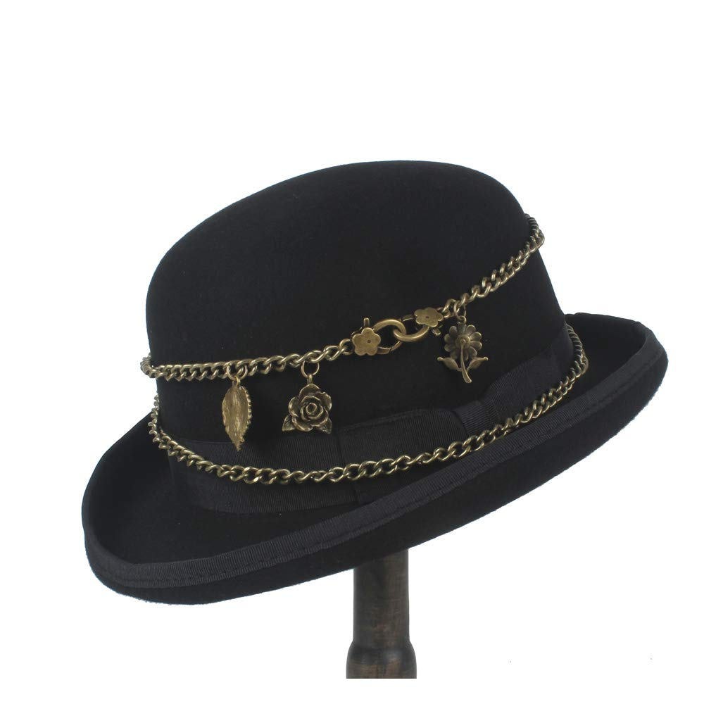 LL Wool Women Men Black Bowler Hat Metal Chain Retro Steampunk Elegant Crushed Dome Hat Hat (Color : Black, Size : 61cm)