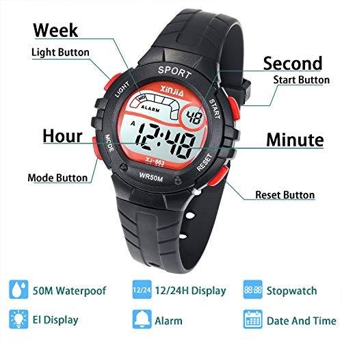 Reloj Digital para Niño Niña,Chicos Chicas 50M(5ATM) Impermeabl Deportes al Aire Libre LED Multifuncionales Relojes de Pulsera con Alarma para Niños ...