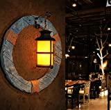 DMMSS Retro Industrial Wind Bar Cafe Restaurant Wall Lamp Bed Bedside Light Creative Individual Solid Wood Decorative Wall Light