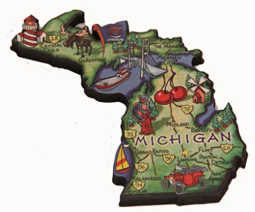 Michigan State Decowood Jumbo Wood Fridge Magnet 4