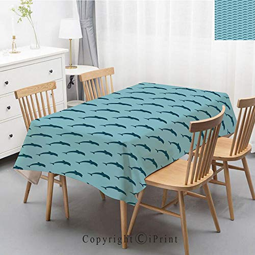 (Print Series Rectangle Tablecloth Cotton and Linen Dust proof Absorption Table Cover for Photography Background Dining,47x63 Inch,Dolphin,Ocean Fauna Collection Dolphin Silhouette with Blue Color Sche )