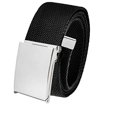 e83430c8105ae3 All Sizes Men's Golf Belt in 1.5 Polished Silver Flip Top Buckle with Adjustable  Canvas Web