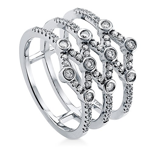 Unique Right Hand Rings (BERRICLE Rhodium Plated Sterling Silver Cubic Zirconia CZ Open Bar Right Hand Cocktail Ring Size 7.5)