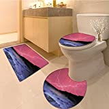 3 Piece Extended bath mat set Thunderstorm Bolts with Vivid Colorfu Sky Like Solar Lights Phenomena Picture Extral Non Slip Bathroom Rugs