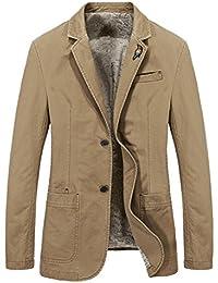 Men's Lapel Sport Coats Two-Buttons Premium Cotton Trench Blazer
