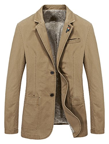 Mordenmiss Men's Lapel Sport Coats Two-Buttons Premium Cotton Trench Blazer M Khaki