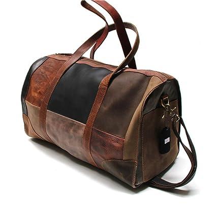 cc940e2a48e5 Amazon.com   Leather Duffel Bag for Men - Large Foldable Gym Bag with  Removable Shoulder Strap - Travel Duffle Gym Bag - Brown 47X22x28cm    Sports   ...