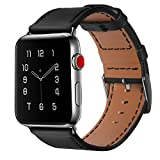 Apple Watch Band, COVERY 42MM iWatch Band Genuine Leather Strap Stainless Metal Buckle for Apple Watch Series 3, Series 2, Series 1, Sport & Edition- Black