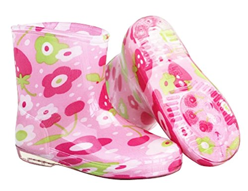 Cute Starry Kids' Rain Boots Pink Flower