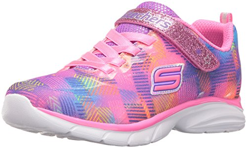 Skechers Kids Girls Spirit Sprintz-Rainbow Raz Sneaker Running Shoe Neon Pink/Multi