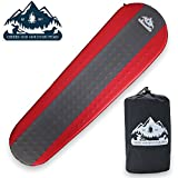 peak base camp - Ultimate Self Inflating Sleeping Pad With Lightweight Foam Insulation - 4 Season All Weather Tested For Backpacking Hiking And Camping - 1.5 Inch Thick Padding Back Support For Great Sleep