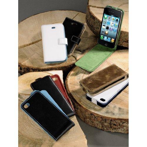 """Hama Handy-Fenstertasche """"Liquid Wood"""" für Apple iPhone 4/4S,Horizt., weiss-hellblau"""