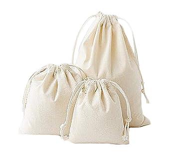 Depory - 3 Bolsas de algodón Natural de Color sólido con cordón ...