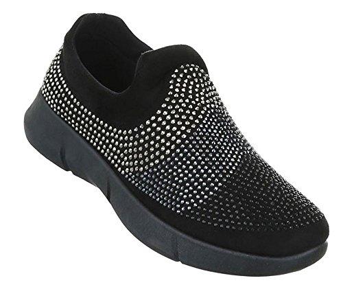 Damen Halbschuhe Schuhe Slipper Loafer Mokassins Flats Slip On Schwarz Blau 36 37 38 39 40 41 Schwarz