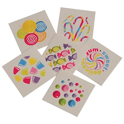 Lot Of 144 Assorted Candy Theme Temporary Tattoos -