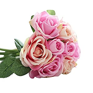 OutTop 9 Heads 10.6 Inch Rose Artificial Flowers Bouquets Fake Flower for Decoration (Pink) 116