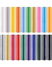 Plotterfolie vinyl,20 vellen 25 x 30 cm flexfolie textiel, warmteoverdracht vinyl, permanent zelfklevend vinyl, HTV-vinyl voor doe-het-zelf-T-shirts, hoeden, kleding en stoffen (20 kleuren)