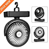 LED Camping Lantern with Tent Ceiling Fan, 12 LED Bulbs Super Bright Portable Lantern, 4400mAh Rechargeable Battery Operated Desk Fan with Hanging Hook, Must Have During Camping, Hiking