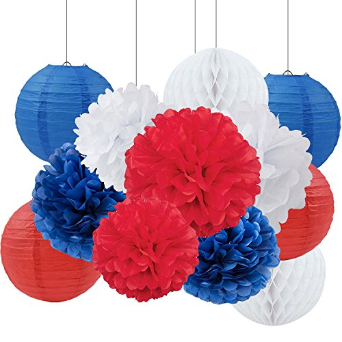 Navy Blue White Red Tissue Paper Pom Pom Paper Flower Paper Lantern Paper Honeycomb Tissue Ball Paper Decoration for Baby Shower Nursery Decor Party Favors Nation Day 4th of July Party Decorations