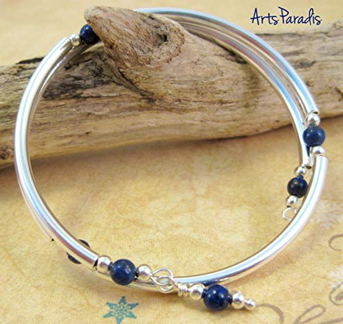 (Dark Blue Lapis Lazuli Natural Stone and Sterling Silver-Plated Wrap Bracelet by)