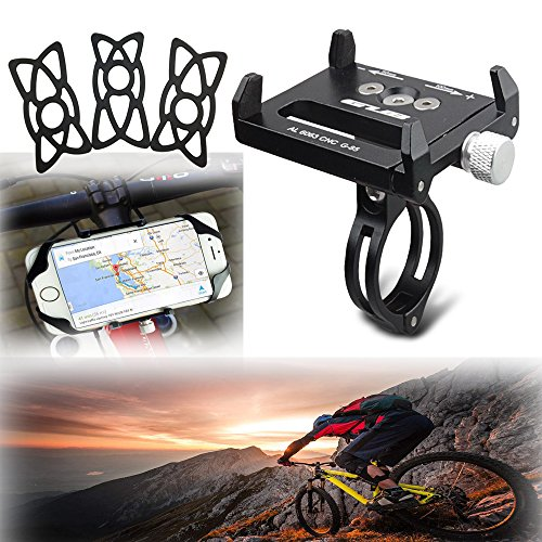 """Mount Shock Spacers (Universal Aluminum Alloy Bike Phone Mount Motorcycle Bicycle Handlebar/Stem Cap Holder Stand Cradle with 3 Rubber Bands for Phone/GPS Up to 3.7"""" Wide: iPhone X 8 7 6 (Plus), Galaxy S7 S6, Black)"""