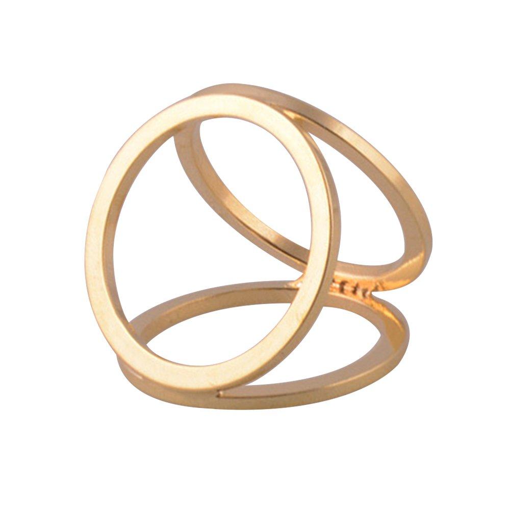 Gemini _ Mall semplice tono argento 3anelli stile seta sciarpa clip fibbia sciarpa ad anello oro Gol...