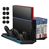AMIR PS4 Cooler Vertical Stand Cooling Fan, Dual Charging Station with 14 Slot Game Disc Storage + 3 HUB Ports + 8 Controller Cover Caps , Multifunctional PlayStation 4 Accessory
