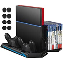 AMIR PS4 Cooler for Christmas Gifts, PS4 Vertical Stand Cooling Fan, Dual Charging Station with 14 Slot Game Disc Storage + 3 HUB Ports + 8 Controller Cover Caps , Multifunctional PlayStation 4 Access