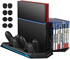 AMIR PS4 Vertical Stand Cooling Fan, Cooler Charging Station with 2 Controller Charging Port + 14 Game Disc Storage + 3 HUB Ports + 8 Controller Thump Grips, Multifunctional PlayStation 4 Accessory