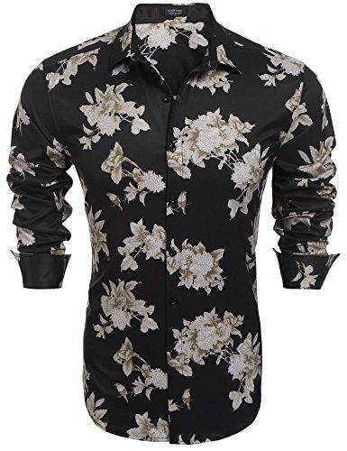 Simbama Men's Slim Fit Hip Hop Floral Printing Hawaiian Aloha (Black Pattern Shirt)