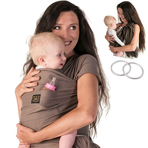 Baby Carrier Wrap Sling Ring - 2 Sling Rings added for Breastfeeding Mom - Large Pocket - Perfect Baby Shower Gift - Woven Cotton for Newborn, Infant, Toddler - Beige