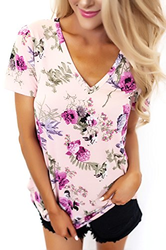 ZKESS Women Short Sleeve V-Neck Floral Printed Flower Blouse Casual Loose Tops T Shirt Medium Size Beige