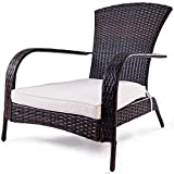 TANGKULA Wicker Adirondack Chair Outdoor Rattan Patio Porch Deck All Weather Furniture with Beige Seat Cushion Wicker Chair Lounger Chaise … (Small with Beige Cushion)