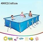 Ouumeis-Frame-PoolsPiscina-Rettangolare-con-Struttura-in-AcciaioPiscine-FuoriterraPiscina-per-Bambini-Ad-Alta-capacita-per-Adulti-Interna-Ed-Esterna400X211x81cmInclude-Pompa-Filtro