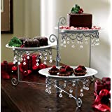 Beaded 3 Tier Silvertone Swivel Server, 12 3/4 Inches Length by 7 3/4 Inches Width by 15 Inches Heighth, Silvertone Color