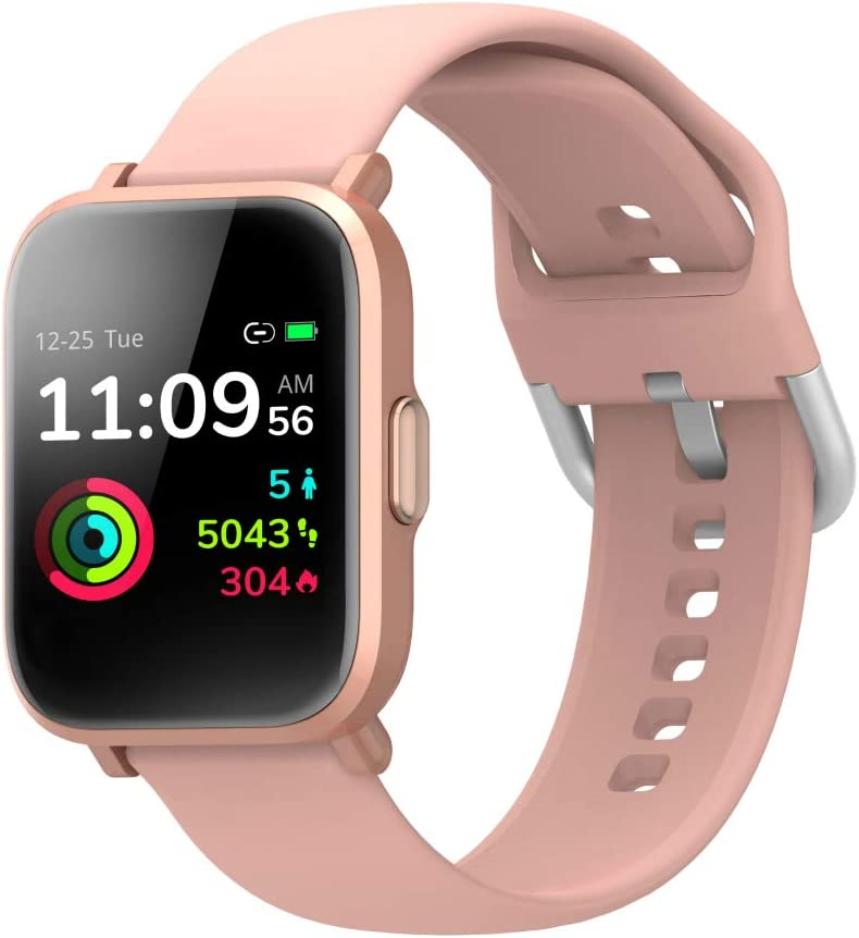 Smart Watch for Women,Fitness Tracker Blood Oxygen Detection SpO2 5ATM Waterproof Music Control Health Sleep&Swim Tracking PPG Heart Rate Monitor 18 Sports Modes (Rose Gold)