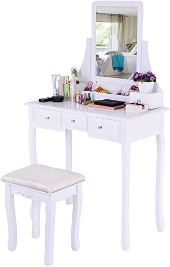 Basde Vanity Set Beauty Station Makeup Table and Wooden Stool Set, Makeup Dressing Table 5 Drawers Storage, Wood Vanity Set w Stool Bedroom Furniture for Girls Ship from USA White